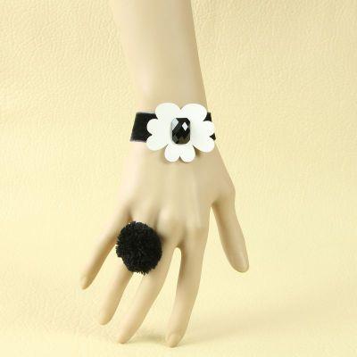 White Sunny Flower Black Woolen Bracelet with Black Ball Ring