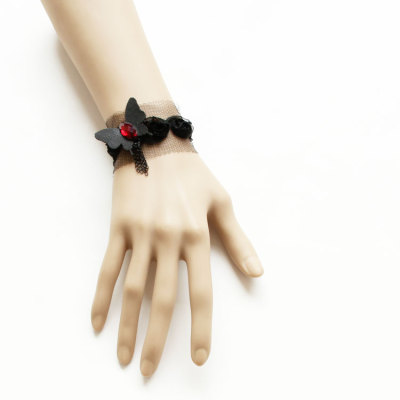Vintage Black Lace Wristlet Black Butterfly Decoration