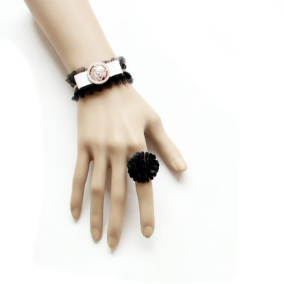 White Bow Black Lace Bracelet with Black Ball Ring