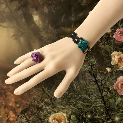 2012 New Fashion Design Green/Purple Lace Rose Bracelet&Ring