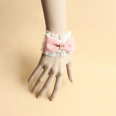 Vintage Pink Lace Cuff Bracelet For Girls