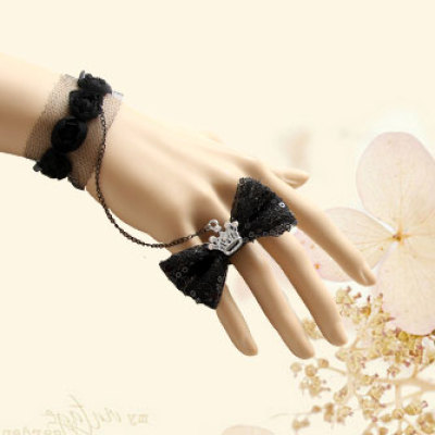 2012 New Design Imperial Crown Black Bow Ring Black Lace Wristband