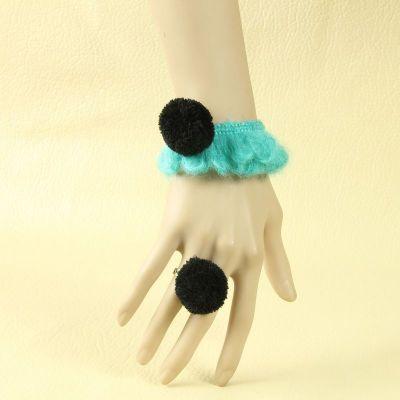 Woolen Yarn Green bracelet connected ring
