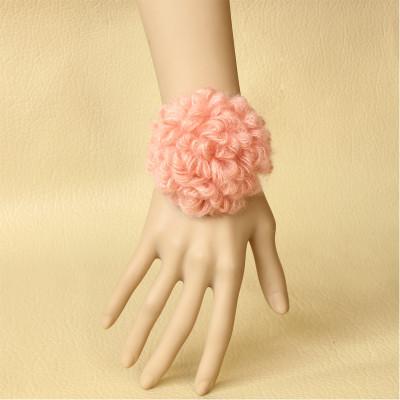 Pink Flower Black Wristband Bangle For Bridesmaid