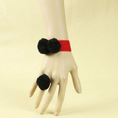 Red velvet strip with lovely black ball decoration bracelet