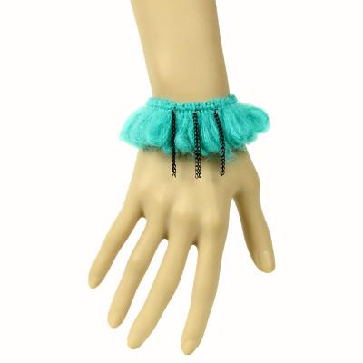 Green lace fringe wristband vintage style bracelet