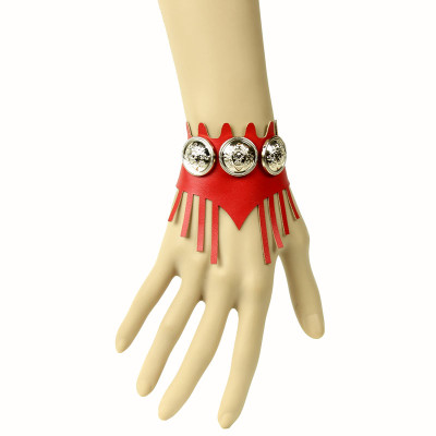 Retro fringe style creative gift red artificial leather wristbands