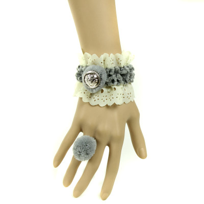 Fashion jewellery series beige lace bracelet with ring