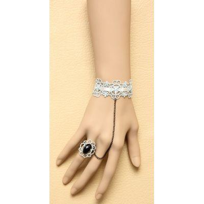Romantic Blue Lace Bracelet Link with Black Jewel Ring
