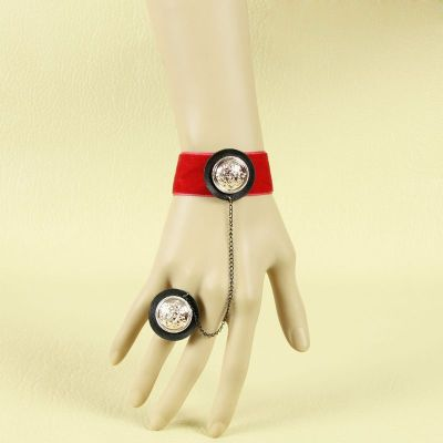 Gothic accessories red velvet strip with acrylic buckle bracelet