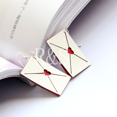 White Envelop with Red Heart Design Handmade earrings for women