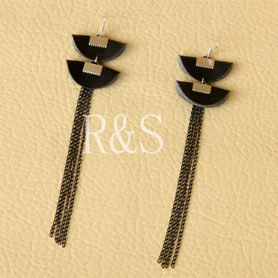 Sexy long fringe earrings black artificial leather material