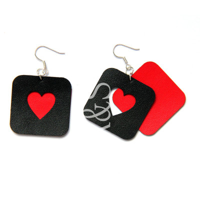 Red Hearts Queen Design Earrings Fashion For Women
