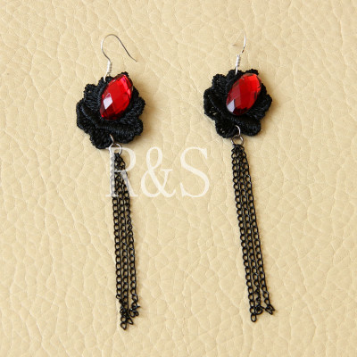 Black Lace Earrings Gothic Style Long Earrings From Wholesaler