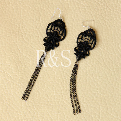 Black lace Tassels Long Design Earrings For Sale