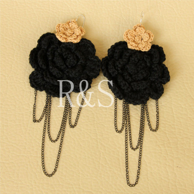 2012 Fashion Tassels Design Big Black Flower Earring Sexy