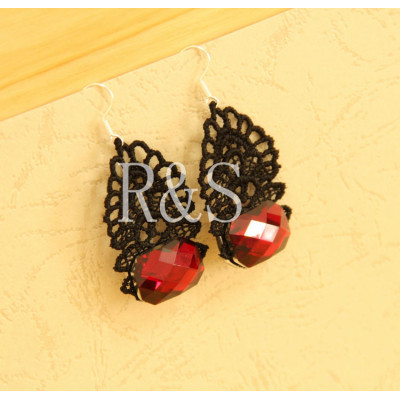 Elegant women black lace and red resin diamond earrings