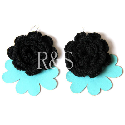 Original Design Super Size Black Flowers Earrings