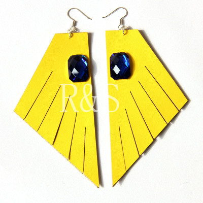 Hot Sale Cool Yellow Leather Earrings With Blue Jewel