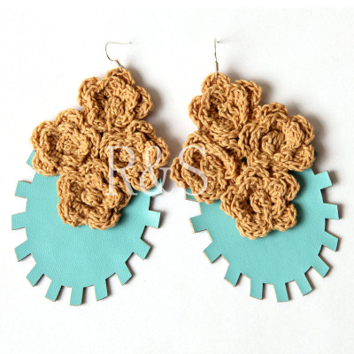 Blue Leather Earrings Handmade Hot sale Design with Woolen Flower