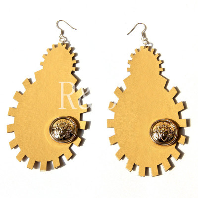Mud-yellow Leather Earrings With Acryl Decoration