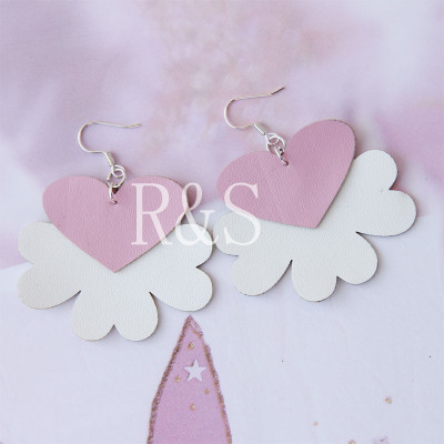 New arrival nice pink leather earrings for cute girls wholesale