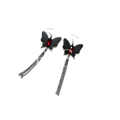Black Leather Butterfly Earrings Long Alloy Tassels