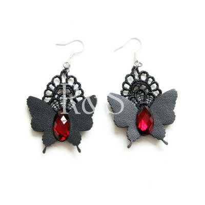 Butterfly Leather With Lace Decoration Earrings