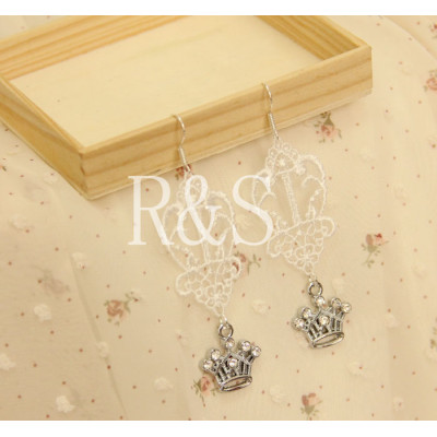 Retro style white lace crown earrings pendant wholesale