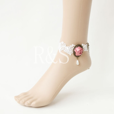 White Lace Flower Anklet 2012 Fashion in US