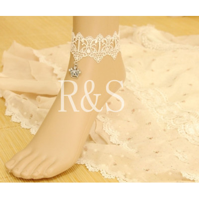White Lace Fashion Crown Design Anklets For Bride