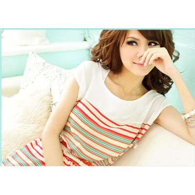 2012 New Colorful Stripes Mini Dress Free Bowknot Belt Womens Dresses