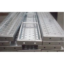 Galvanized planks of scaffolding