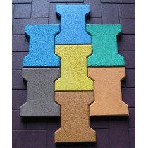 Bone-shape rubber tiles for walkway