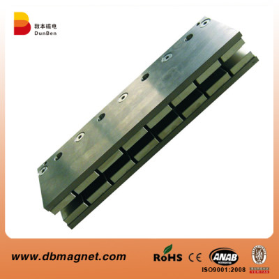 Magnetic Linear Motor Assembly - NdFeB Magnets glued on steel plate with double layers