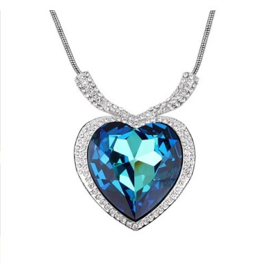 Free Shipping Chain necklace With Heart Crystal Pendant