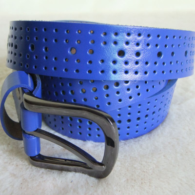 Lady's Colorful Real Leather Belts With 2 Belt Loops