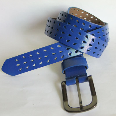 Fashion Leather Lady's Belt With Tear Drop Perforating Effect