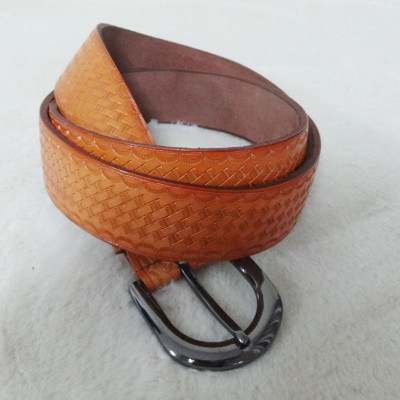 Stylish Brown Leather Belt With Pattern