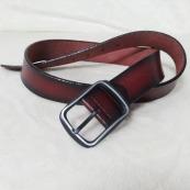 Cinturón de piel en marrón oscuro y con degradado