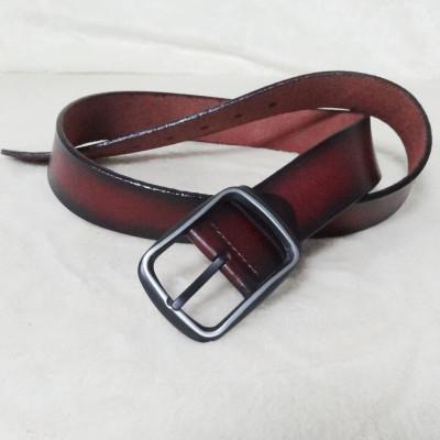 Stylish Dark Brown Leather Belt With Gradient