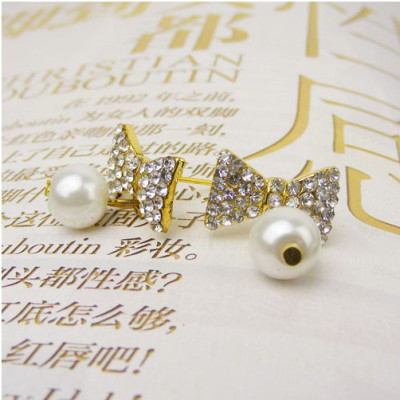 Free Shipping Pearl Earrings With Bow