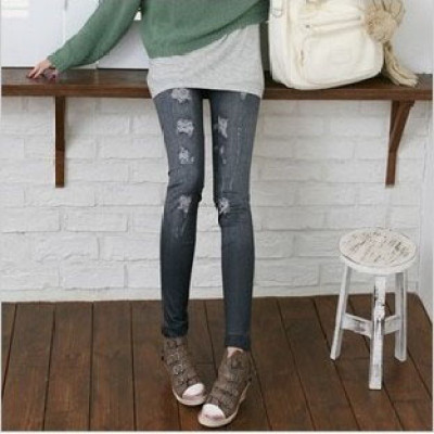 Jeans Leggings With Fake Hole