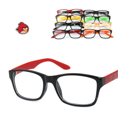 Free Shipping Angry Birds Printing On The Frame Legs And Fashion Candy Color With Black Framed Glasses