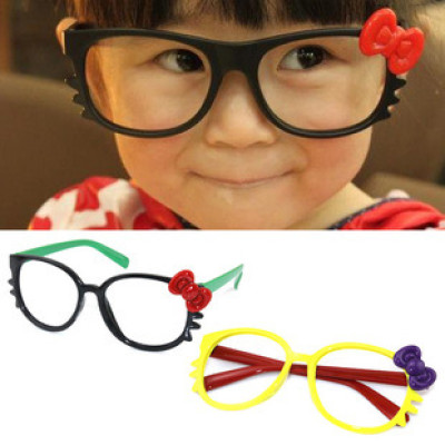 Free Shipping Children KT Glasses Box And Round Hellokitty Children Glasses Frame With Bow Cat Decorative Sunglasses
