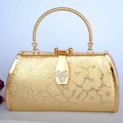 Gold Shiny Princess Evening Handbag With Pattern And Rhinestones