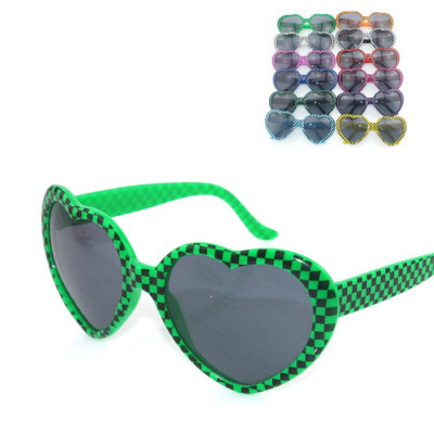 Free Shipping Peach Heart And Plaid Of Glasses For Dance Hip-hop Sunglasses