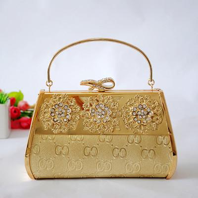 Gold Princess Evening Handbag With Rhinestones