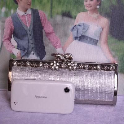 Silver Princess Evening Handbag With Rhinestones