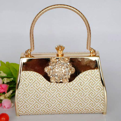 Shiny Gold Princess Evening Handbag With Rhinestones